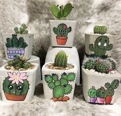 Cute print cactus and succuelent concrete planters.Shop online for all your Cactus and Succulent must haves. Our selection of decorative planters will help you add plenty of personality to your space. Flower Pot Art, Flower Pot Crafts, Clay Pot Crafts, Painted Plant Pots, Painted Flower Pots, Cactus Painting, Cactus Art, Cactus Plants, Decorated Flower Pots