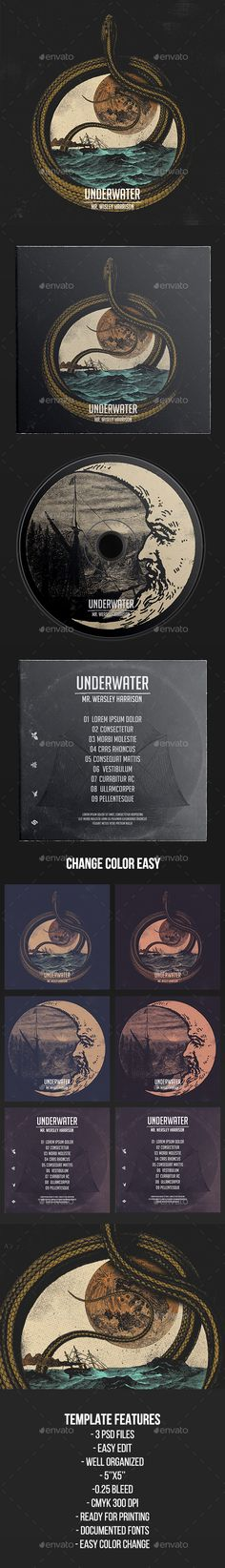 Underwater - CD Cover Artwork Template - CD & DVD Artwork Print Templates
