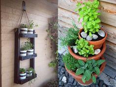 Vertikale Kräutergärten auf dem Balkon