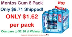 HOT HOT HOT! Grab Mentos Gum for only $1.62 per pack! Compare to $2.96 each at Walmart! Get a 6 pack for $9.71 shipped!  Click the link below to get all of the details ► http://www.thecouponingcouple.com/mentos-gum/ #Coupons #Couponing #CouponCommunity  Visit us at http://www.thecouponingcouple.com for more great posts!
