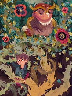 art, illustration, animal, bird, owl, floral, vine, figure, child, boy, pattern, design. //  Heartwork 2012 - Meg Hunt