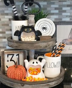 halloween house Classy country Halloween Decor from G G Luvs Dunn Rae Dunn and Witches Tiered Tray Country Halloween, Casa Halloween, Fröhliches Halloween, Holidays Halloween, Halloween Treats, Farmhouse Halloween, Favorite Holiday, Holiday Fun, Festive