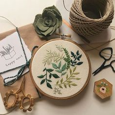 Leaves embroidery by