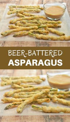 Beer-Battered Asparagus – Onion Rings & Things Beer-Battered Asparagus are coated in a beer batter and deep fried until golden and delicious. Served with campfire sauce, they're seriously addicting! Asparagus Fries, Asparagus Recipe, Avocado Fries, Vegetable Side Dishes, Vegetable Recipes, Deep Fryer Recipes, Campfire Sauce, Batter Recipe, Veggie Fries