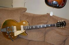 """1956 Gibson Les Paul Goldtop. Factory Bigsby. There was an ABR-1 installed, but I replaced it with the original Bigsby """" ..."""
