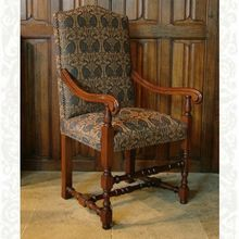 Barrington Arm Chair, upholstered in Medieval Swans fabric, designed and made by Stuart Interiors Writing Inspiration, Solid Oak, Armchair, Swans, Oak Chairs, Interior Design, Medieval, Interiors, Furniture