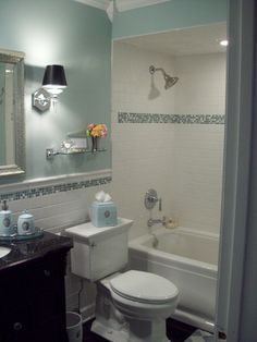 Spa blue bathroom makeover in black, white and blue with crystal accents. arctic…