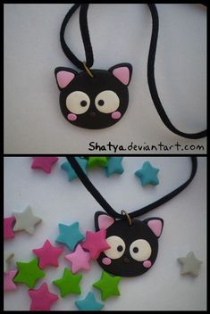 Cute Polymer clay Black Cat necklace. #fimo #polymerclay #cat