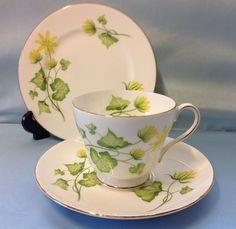 Shelley Windsor Shape Celandine Pattern Tea Cup Trio.