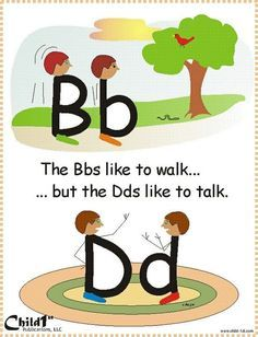 """Dyslexie en Engels Good way to teach how to differentiate between """"b"""" and """"d"""" Very Clever!"""