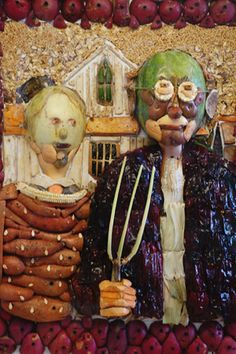 """American Gothic"" done in vegetables for the Orange County Fair Jim Victor"