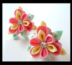 Kanzashi fabric flowers.