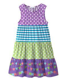 Loving this Purple Flag & Green Polka Dot A-Line Dress - Toddler & Girls on #zulily! #zulilyfinds