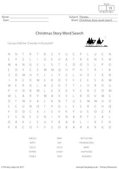 PrimaryLeap.co.uk - Christmas Story Word Search Worksheet