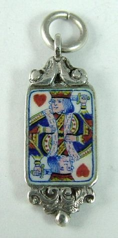1930s-50's Silver & Enamel Playing Card Charm