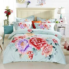 TheFit Paisley Textile Bedding for Adult U1086 Light Color Flower Duvet Cover Set 100% Sanding Cotton, Queen King Set, 4 Pieces (Queen) //Price: $200.91 & FREE Shipping // #hashtag3