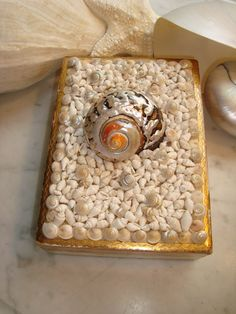 Italian Florentine Ivory/Gold Seashell Box by MyHoneypickles