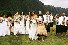 Bridal Party Outfits // Bridesmaid all white dresses // Hawaiian Wedding // Tongan Groomsmen Attire Wedding Poses, Wedding Attire, Wedding Couples, Wedding Dresses, Wedding Engagement, Wedding Flowers, Tongan Wedding, Polynesian Wedding, Maui Wedding Photographer