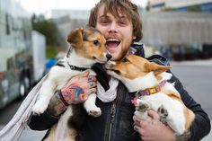 Danny Worsnop with his cute dogs