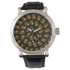 Golden Lion Head Abstract Pattern Wristwatch - diy cyo customize create your own personalize