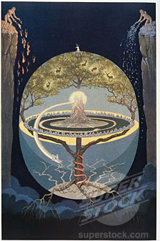 Illustration from Rosicrucian Symbolical Philosophy depicting Yggdrasil Tree the World Tree by J. August Knapp, 1928
