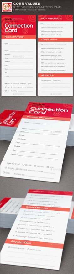Core Values Church Connection Card Template - Cards & Invites Print Templates