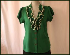 Anthropologie Odille Ruffle Green Blouse Size 10 Shift Button Down Wear To Work
