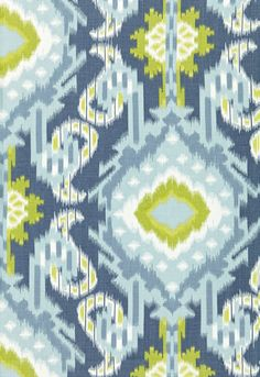Kiribati Ikat Print Aquamarine 174982 by Schumacher Fabric Linen Martindale Horizontal: 18 and Vertical: 54 - Fabric Carolina - Textiles, Textile Patterns, Color Patterns, Print Patterns, Design Patterns, Hirsch Design, Ikat Pattern, Tejidos, Paintings