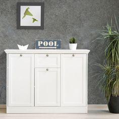 Kommode Landwood Sideboard Stauraumelement in weiß mit 3 Türen Landhausstil