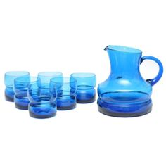 Mid Century Modern Vintage Blue Hand Blown Italian Pitcher & Rocks Glasses Set. Available at The Hour Shop & TheHourShop.com ~ curated cocktail glassware & barware for the modern home bar.