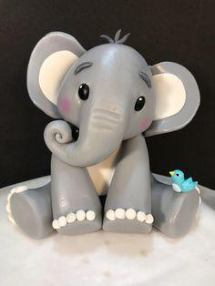 Fondant Baby elephant cake topper – Famous Last Words Deco Elephant, Baby Elephant Cake, Elephant Cake Toppers, Fondant Cake Toppers, Fondant Baby, Fondant Figures, Fondant Cupcakes, Cupcake Toppers, Jungle Cake