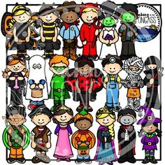 Happy Halloween! This Halloween 40 piece clip art bundle features kids in a variety of costumes including a vampire, witch, mummy, Frankenstein's monster and his bride, bumblebee, ladybug, butterfly, cowboy, devil, ghost, kitty, minion, ninja, pirate, princess, snow princess, pumpkin, superhero, and a ninja turtle!
