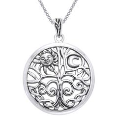 Carolina Glamour Collection Sterling Silver Celtic Sun Moon Tree of Life Necklace | Overstock.com Shopping - The Best Deals on Sterling Silver Necklaces