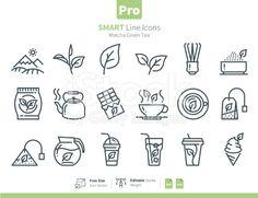 Matcha Green Tea icons Outline royalty-free stock vector art