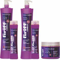 [Total Force] Reconstrução Capilar. O óleo de tutano associado à queratina e à vitamina E fortalecem e reestruturam a fibra capilar danificada proporcionando força, suavidade, emoliência e brilho.     Shampoo - 900ml  Condicionador - 900ml  Máscara Capilar - 500g  Shampoo - 280ml (manutenção)   Condicionador - 280ml (manutenção)