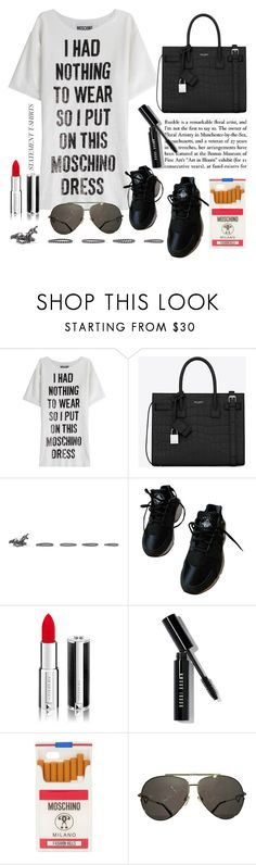 """""""statement t-shirt"""" by anabelisstyle ❤ liked on Polyvore featuring Moschino, Yves Saint Laurent, Valentino, NIKE, Givenchy and Bobbi Brown Cosmetics"""