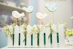 Birdie decor from Shabby Chic Little Bird Birthday Party at Kara's Party Ideas. See the many little details at karaspartyideas.com