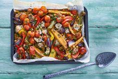 Ovengroente met zoete aardappel en kip - Recept - Allerhande