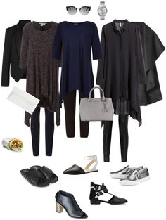 Ensemble: Drapey Black with Leggings - YLF. Like the silhouette, but in brighter colours. Mature Women Fashion, Womens Fashion For Work, Fashion Advice, Fashion Outfits, Fashion Capsule, Women's Fashion, Looks Style, My Style, Black Leggings Outfit