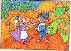 ACEO Original Joy Pumpkin Pilgrim Mouse Harvest Autumn Fall Dance Cute Sweet Fun #Miniature