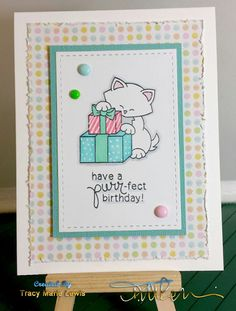 Kitty Birthday card by Tracy Lewis | Newton's Birthday Bash stamp set by Newton's Nook Designs #newtonsnook