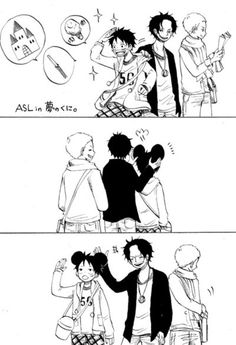 Disneyland - ASL brothers Monkey D. Luffy, Portgas D. Ace, and Sabo One piece Anime One Piece, One Piece Comic, One Piece Ace, One Piece Funny, Disneyland, Susanoo Naruto, Anime Siblings, Manga Anime, Ace Sabo Luffy