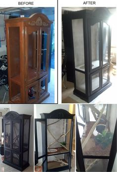 an old Curio Cabinet into a custom reptile enclosure to look more appealing to the home and not just some rectangular cage.Turning an old Curio Cabinet into a custom reptile enclosure to look more appealing to the home and not just some rectangular cage. Reptile Cage, Reptile Habitat, Reptile Room, Lizard Habitat, Chameleon Enclosure, Snake Enclosure, Lizard Cage, Snake Cages, Terrarium Cameleon