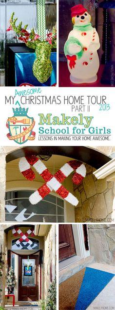 Vintage Inspired Front Porch Christmas Home Tour via MakelyHome.com