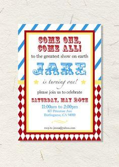 Printable Circus Party Invitation ~