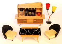 Vintage German dollhouse furniture by VEB Niederseida