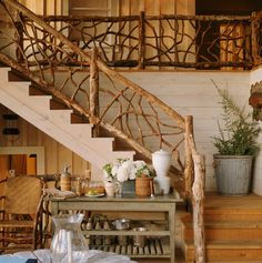 Rustic railing ballusters stair railing and balcony - Escaleras rusticas ...