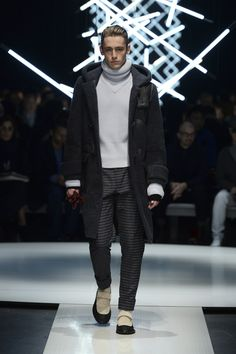 Sheepskin Montgomery coat with contrasting leather details, cashmere turtleneck, monk strap-style shoes #CanaliFW15 #mfw #moda #menswear #FW15
