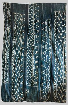Indigo stitched, paste resist known in the Cameroon as Ndop