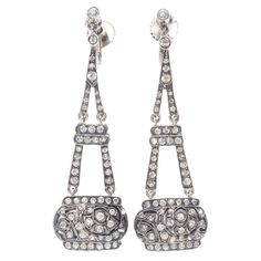 French Art Deco Earrings, 1920s - looks like the Eiffel Tower